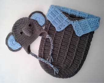 Baby Elephant Cocoon and Hat Set