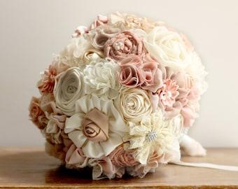 wedding Bouquet Fabric rustic Bridal Bouquet shabby chic bouquet, blush bouquet