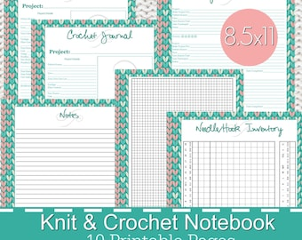 Knitting Crochet Planner Notebook Journal Printables PDF, knitting planner, knitters notebook, crochet planner - Stitches Theme