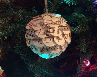Sheet Music Ornament, Christmas Ornament, Paper Ornament, Unique Ornament, Musical Ornament