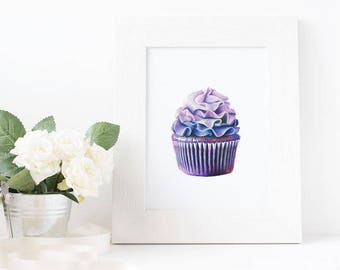 Purple Cupcake Drawing Print - Wall Art - Decoration - Food Art 5x7
