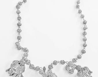 1940s  Silver Chinese Lantern Haninng Necklace