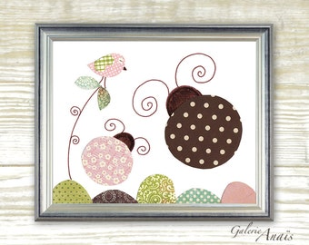 Nursery art prints - baby nursery decor - nursery wall art - Ladybug - Free Like A Bug print