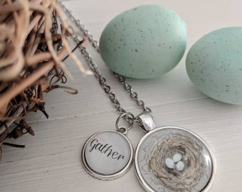 "Bird's Nest Pendant with ""Gather"" word charm"