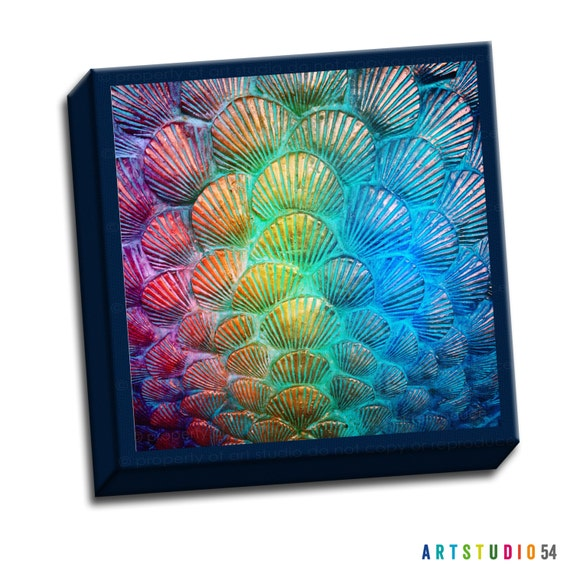 "Rainbow Shell -  6""x6"" to 36""x36"" - 1.25"" Deep - Gallery Wrapped Canvas - artstudio54"
