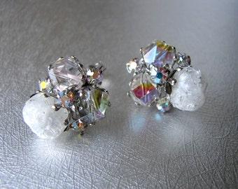 Vintage Clip Back Earrings Vogue Rhinestone Costume Jewelry Aurora Borealis Crystal Molded White Acrylic Beads Wedding Bridal Formal Holiday