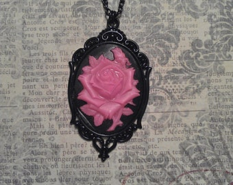 Cotton Candy Pink and Black Glow in The Dark - UV Rose Floral Cameo with Black Enameled Pendant on Necklace