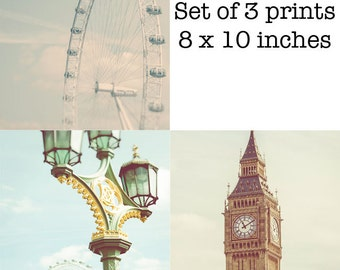London print Set of 3 London Photography Prints