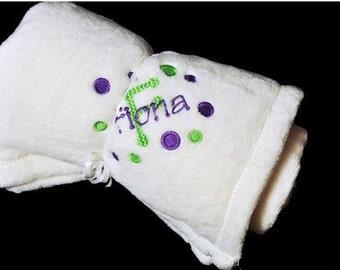 Personalized White Micro Fleece Baby Blanket
