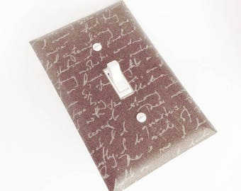 Script Switchplate, Neutral Brown Light Switch Plate, Brown Script Wall Decor, Light Switch Cover, Bedroom Decor, Switchplate, Light Cover