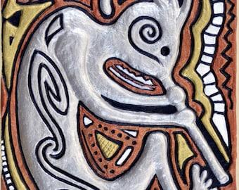 Kokopelli's Dance - Cast Paper - south western art - Anasazi
