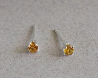 Topaz Stud Earrings-Topaz Studs-3mm Topaz Stud Earrings-3mm Topaz Studs-November Birthstone Earrings-Yellow Studs-Birthday Gift