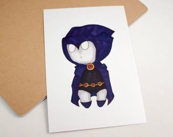 Mini Raven - 4x6 Print [ DC / Fan Art / Chibi ]