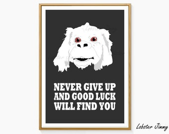 Never Give Up and Good Luck Will Find You, The Neverending Story, Falkor the Luck Dragon, Fantasy Art, 80s Movies, Instant Download