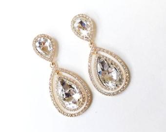 Earrings - Double Teardrop Crystal Earrings in Gold - Rhinestone Dangle - Post Earring - Crystal Wedding Earrings - Bridal Earrings