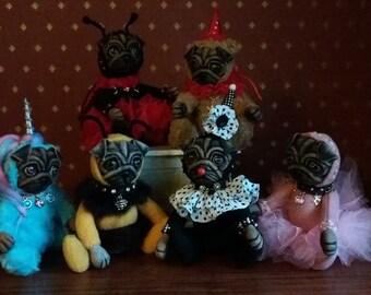 Ready to ship custom handmade miniature felt dog sculptures personalised
