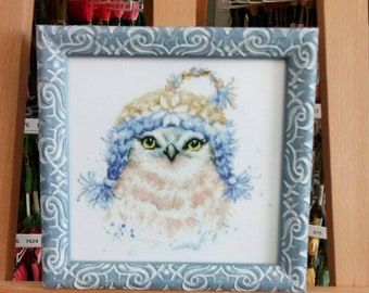 "Embroidery / Embroidered painting / Owl / Blue Tale / Winter / Embroidered picture ""Winter Owl"""
