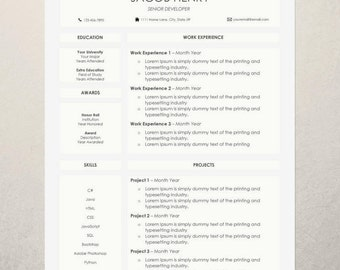 Professional Resume Template | Creative Resume Template | Cover Letter Template | CV Template | Word Resume Template | 1 Page Resume Design