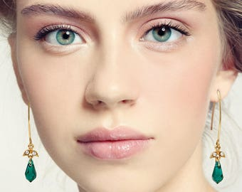 Green drop earrings, Green dangle earrings, Green earrings, Green gift, Emerald and gold earrings, Green long earrings