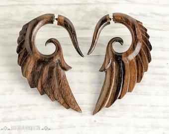 Fake Gauge Earrings Wooden Earrings Wings Angel Tribal Earrings - Gauges Wood - FG002 W