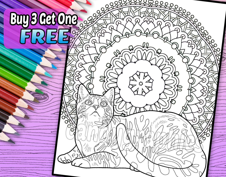 Gato Mandala página de libro de adulto para colorear para