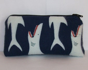 """Pipe Pouch, Sharks Pipe Bag, Pipe Case, Padded Pouch, Pipe Cozy, Small Pouch, Stoner Gift, Shark Pouch, Ocean Animal, 420 Bag - 5.5"""" SMALL"""