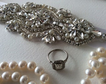 Beautiful Wedding Bridal Sash- Rhinestones and Pearls