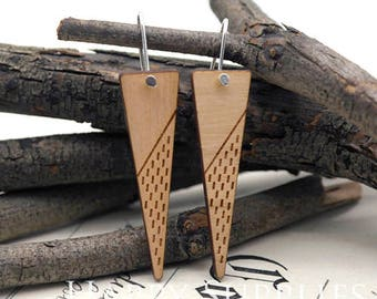 2pcs / 1 Pairs (HEW15) Laser Cut Wooden Dangle Earrings - HEW Series