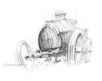 Bugatti - Original A2 Pencil Sketch