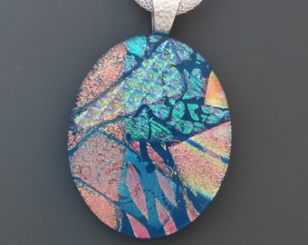 Oval Fused Glass Pendant, Blue Fused Glass Dichroic Pendant, Dichroic Pendant, Oval Statement Necklace, Dichoric Focal Pendant, Blue Oval