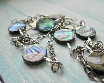 Abalone Shell Coin Necklace, Sterling Silver, Wire Wrapped
