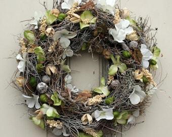 Fri-Collection Door wreath Spring Awakening Hydrangea Dekokranz Wandkranz wreath silk flower handmade 34 cm