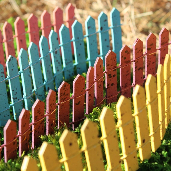 Cheerful Fences for the Fairy Garden (Yellow, Green, Blue or Salmon)