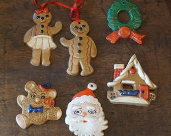 Collection of 6 Vintage 1970s Plaster Christmas Tree Ornaments/ Chalkware Ornaments/ Gingerbread Man and Woman/ Bear/ Wreath