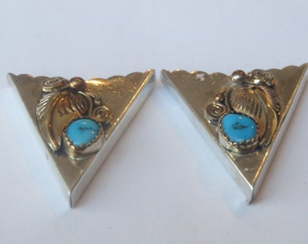 Vintage Sterling Silver with Gold Applique  Flower Turquoise  Collar Tips, Tabs, Points IC Lot 12