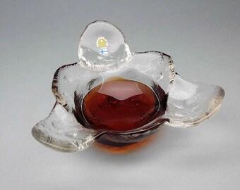 Pertti Santalahti glass bowl / serving dish from Kivi set by Humppila of Finland