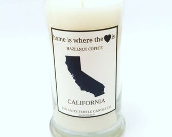 Home Is Where The Heart Is - Personalized Home State - Soy Candle, 21oz Status Jar - Your Choice of Scent & State