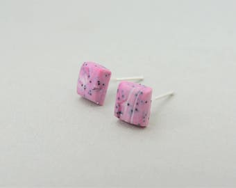 Pink Square Stud Earrings, Polymer Clay Earrings, Marbled Earrings, Statement Earrings, Modern Earrings, Geometric Earrings, Unique Earrings