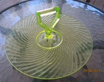 Vintage vaseline glass sandwich plate with handle