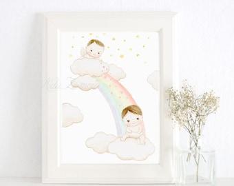 """Nursery Art """"RAINBOW BABY"""" Art Print, Nursery Illustration. Rainbow baby print. Rainbow child picture. Rainbow nursery."""
