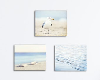 Pale Blue Beach Canvas Set - light white coastal photography ocean cream nautical prints seashore sea shore beige seaside artwork wall art