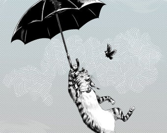 Cat Umbrella Print