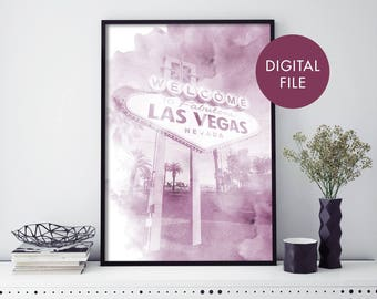 Las Vegas, Nevada Watercolour Print Wall Art   Print At Home   Digital Download File