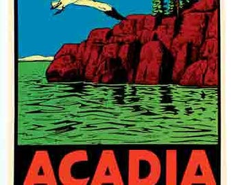 Vintage Style Acadia National Park  Maine  Travel Decal sticker