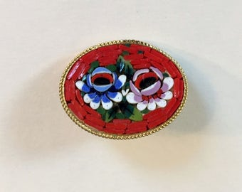 Vintage Red Micro Mosaic Colorful Floral Gold Tone Brooch