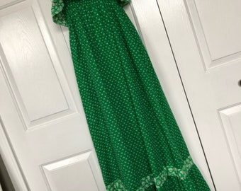 Vintage Hearsay ruffle Dress, holly hobbie style dress, sun dress, summer cotton dress, size small, 8, maxi, hippie dress
