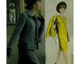 "Nina Ricci 60s Sheath Dress Pattern, Short Jacket, Welt Pockets, Side Slits, Collar, Topstitched, Vogue Paris Original No. 1313 Bust 34"""
