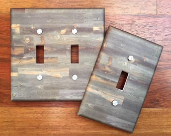 Rustic wood light switch plate cover // reclaimed wood green grey gray brown image 90 // SAME DAY SHIPPING**