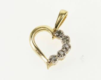 10k Diamond Inset Accented Wavy Curvy Heart Pendant Gold