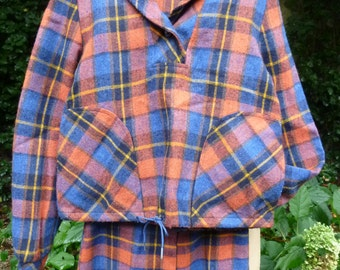 Vintage Girls Jacket and Gaucho Style Pants 1970's Mod Girl's Outfit 70's Russ Teen Plaid Wool Top and Capri pants Size 12 1970s